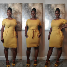 Load image into Gallery viewer, Hailey Tie Dress- Light Mustard