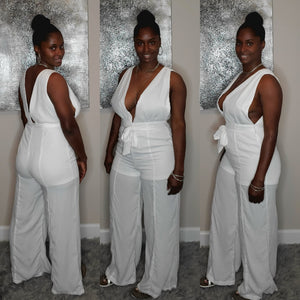 Take a Plunge Jumpsuit- white