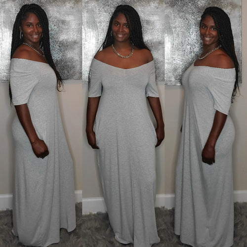 Lillian Plus Size Maxi Dress- Gray
