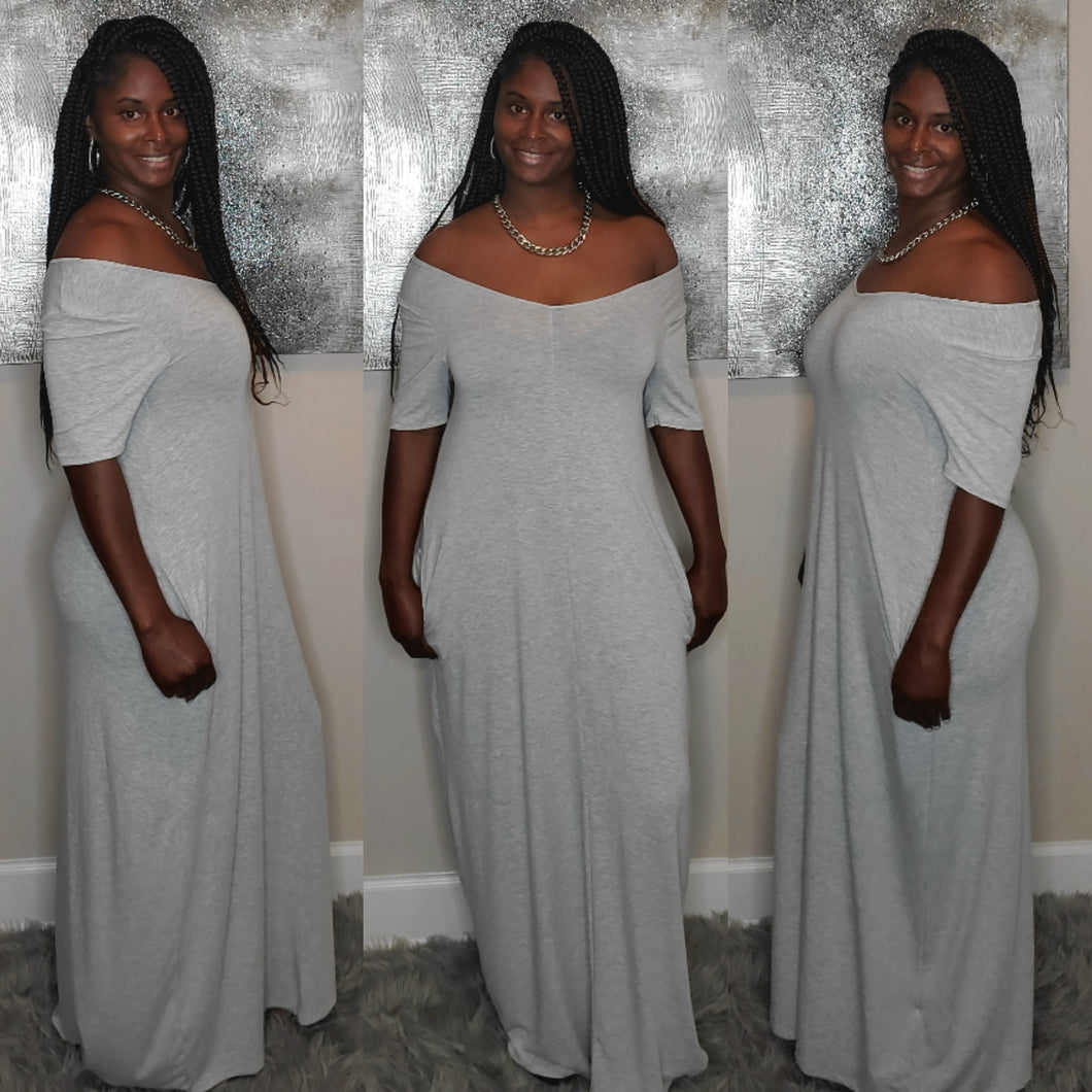 Lillian Maxi Dress-Gray