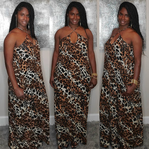 Leopard Spaghetti Strap V-Neck Dress