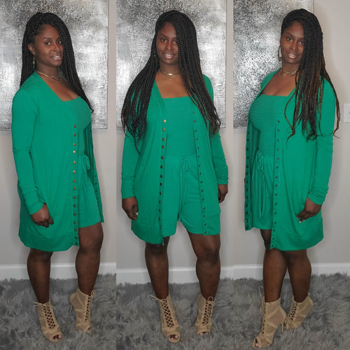 Toya Romper Set- Kelly green