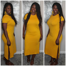 Load image into Gallery viewer, Split Tee Dress-Mustard