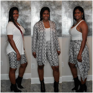 Plus Size Snakeskin Cardigan Set