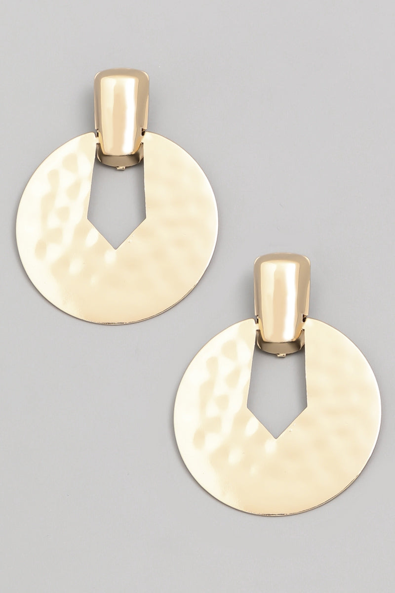 Hammered Disc Earrings-Gold