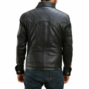 New Men's Genuine Lambskin Leather Biker Jacket, Black Leather button shirt Jacket - theleathersouq