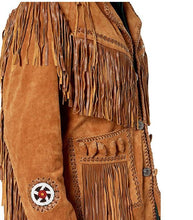 Load image into Gallery viewer, Men's Brown Fringed & Bones Cowboy Style Suede Leather Jacket - theleathersouq