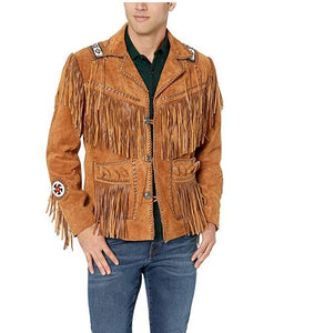 Men's Brown Fringed & Bones Cowboy Style Suede Leather Jacket - theleathersouq