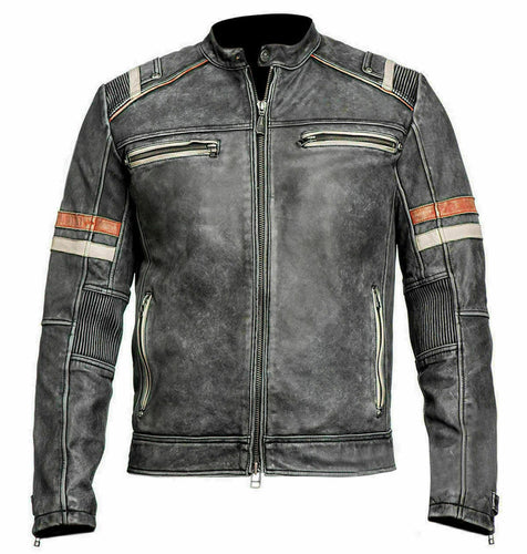 New Men's Retro 2 Cafe Racer Biker Vintage Motorcycle Distressed Moto Leather Jacket - theleathersouq