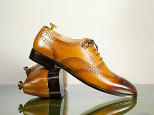 Handmade Men's Tan Wing Tip Brogue Leather Lace Up Shoes, Men Designer Dress Formal Shoes - theleathersouq