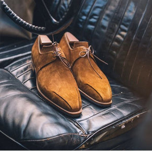 Elegant Handmade Derby Suede Stylish men Shoes, Men's Lace Up Brown Color Formal Shoes - theleathersouq