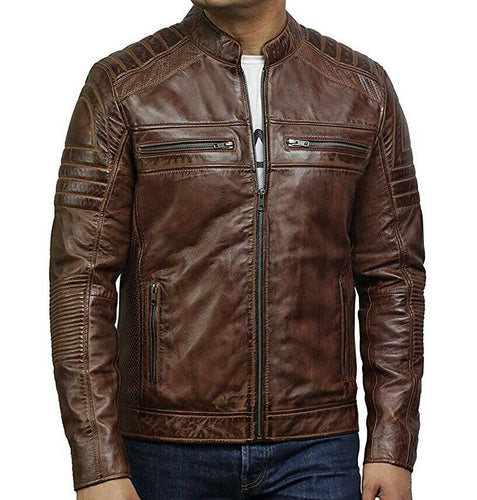 New Men's Leather Jacket Cafe Racer Vintage Distressed, Biker Leather Jacket for men - theleathersouq