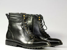 Load image into Gallery viewer, Men's Handmade Black Cap Toe Leather Ankle Boots, Men Designer Boots - theleathersouq