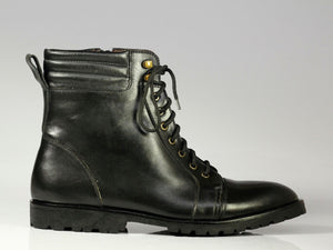 Men's Handmade Black Cap Toe Leather Ankle Boots, Men Designer Boots - theleathersouq