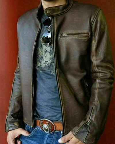Biker Vintage Motorcycle Distressed Men Brown Cafe Racer Leather Jacket - theleathersouq