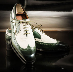 Stylish Men Handmade White & Green Color Leather Shoes, Wing Tip Lace Up Shoes - theleathersouq