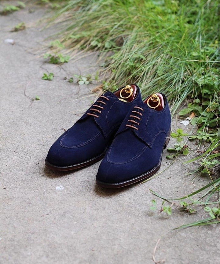 Stylish Handmade Men's Blue Color Suede Shoes, Lace Up Fashion Dress Shoes, Men Lace up Suede Shoes - theleathersouq