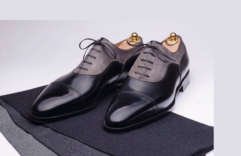 Stylish Handmade Men's Black & gray Lace Up Leather & Suede Cap Toe Shoes - theleathersouq