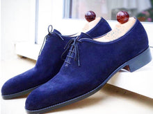 Load image into Gallery viewer, Stylish Handmade Men's Blue Color Suede Shoes, Lace Up Fashion Dress Shoes, Men Lace up Suede Shoes - theleathersouq