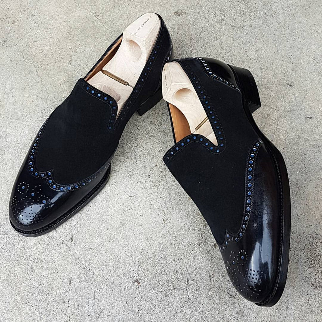 New Designer Men's Handmade Black Shoes, Men's Leather & Suede Wingtip Dress Fashion Shoes - theleathersouq