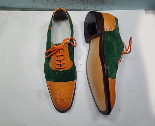 Elegant Handmade Men Green & Brown Shoe, Men cap toe Lace Up Suede & Leather Formal Shoes - theleathersouq