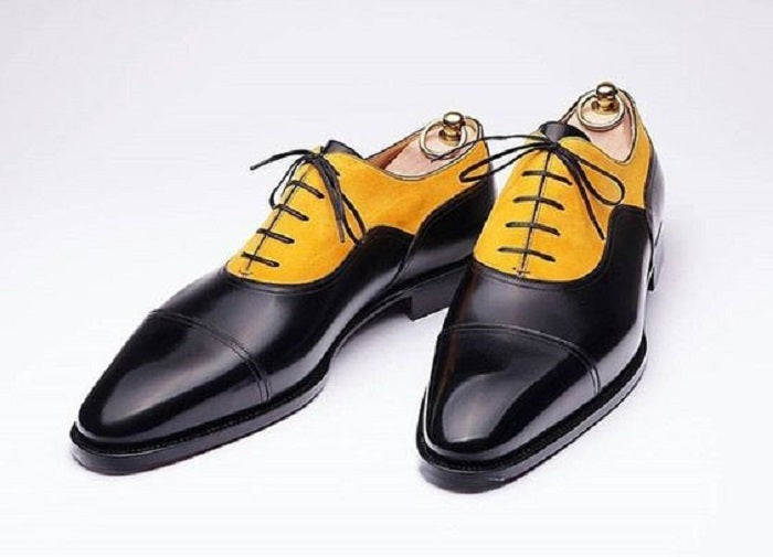 Stylish  Handmade Men's Leather & Suede Lace Up Shoes, Men Yellow & Black Cap Toe Shoes - theleathersouq