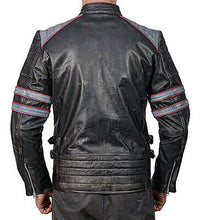 Load image into Gallery viewer, Cafe Racer Retro Classic Black gray Distressed Biker Leather Jackets For Men - theleathersouq