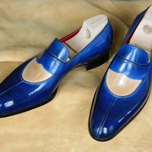 Stylish Handmade Men's Beige & Blue leather loafer dress shoes unique leather shoes - theleathersouq