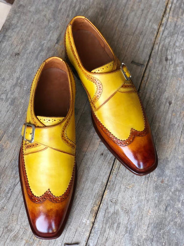 Elegant Design Handmade Men's Brown & Yellow leather Monk dress shoes,New leather shoes - theleathersouq