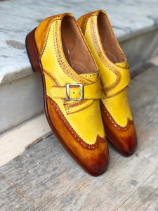 Handmade Men's Two Tone Yellow Brown Leather Wing Tip  Monk Strap Shoes, Men Designer Dress Formal Luxury Shoes - theleathersouq