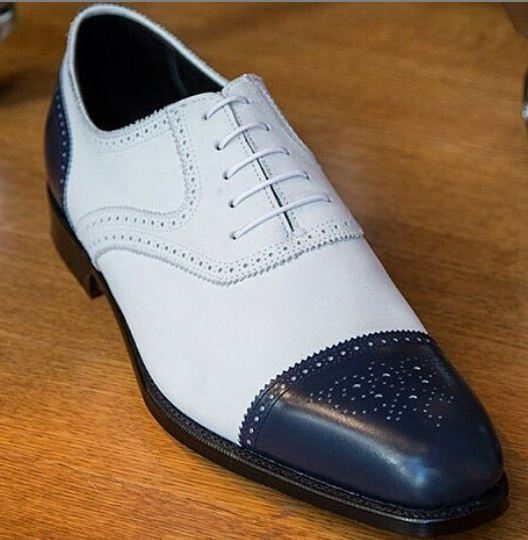 Latest Handmade White & Blue Two Tone Stylish Men's Leather Lace Up Brogue Toe Shoes - theleathersouq