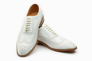 Stylish Men's White Brogue Toe Wing Tip Premium Leather Oxford Handmade Shoes - theleathersouq