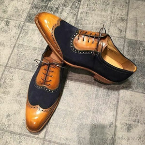 New Men's Handmade leather & Suede shoes, Tan and Black two tone dress shoes - theleathersouq