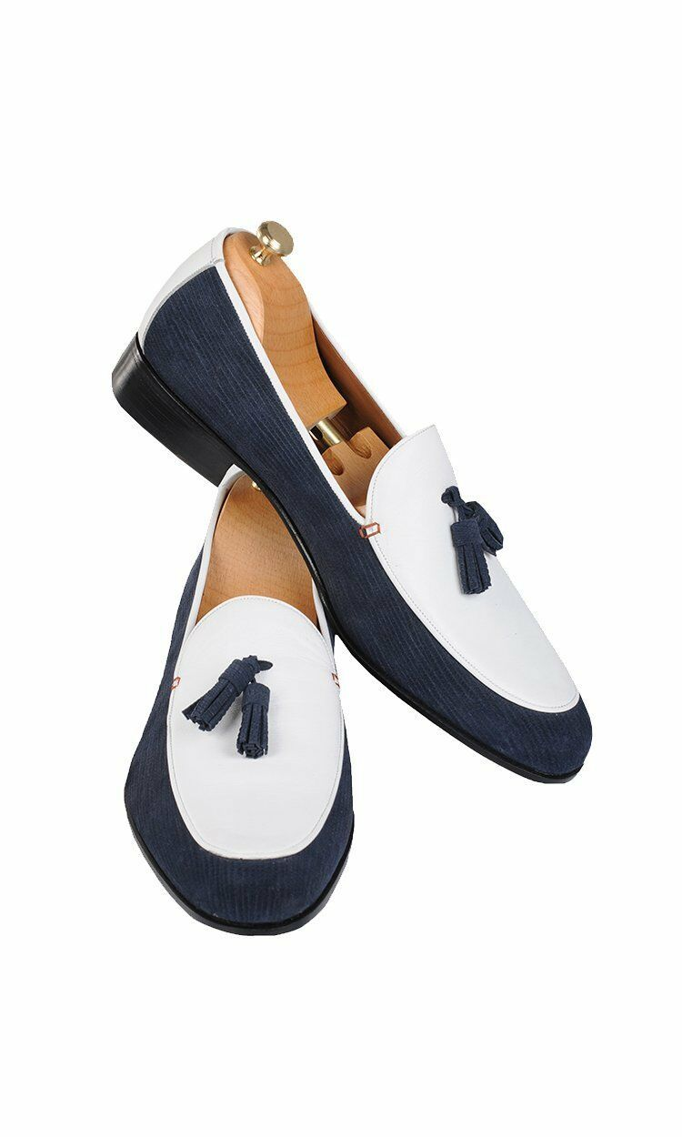 Men's Stylish Blue & White Handmade Tassel Loafer Leather Shoes, custom dress shoe for men - theleathersouq
