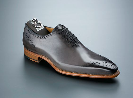 Men's Handmade Gray Leather Brogues Toe Oxford Lace Up Classical Shoes - theleathersouq