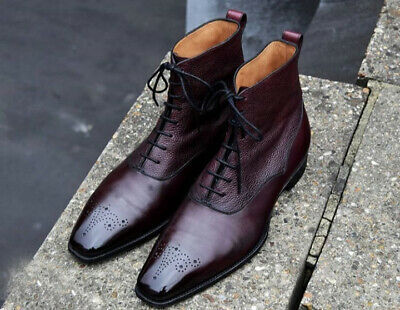 New Men's Handmade Burgundy Brogues Leather Ankle High Lace Up Boots - theleathersouq