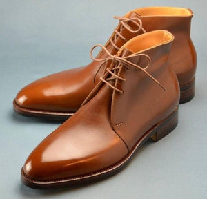 Stylish Men's handmade leather Brown Chukka boots Custom leather boots for men - theleathersouq