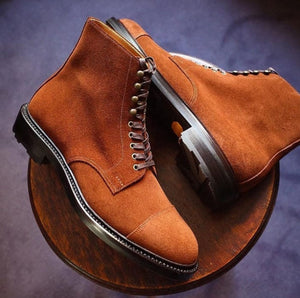 New Men's Suede Leather Brown Color Handcrafted Ankle High Lace Up Fashion Boots - theleathersouq