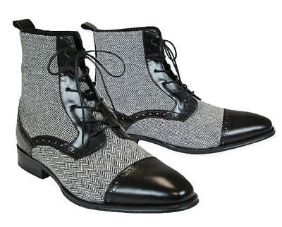 New Handmade Men's Leather & Tweed Boots, Black and Gray ankle lace up boots For Men - theleathersouq