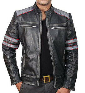 Cafe Racer Retro Classic Black gray Distressed Biker Leather Jackets For Men - theleathersouq