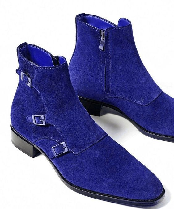 Stylish Men's Custom made ankle Boots, men Handmade Luxe Suede High Ankle shoes - theleathersouq