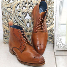 Load image into Gallery viewer, New Handmade Leather Brown Lace Up Boots, Formal Casual Ankle High Boots - theleathersouq