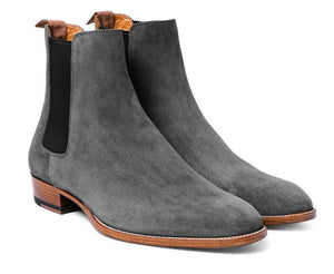 New Men's Handmade Gray Chelsea Suede Stylish Boots, Formal Dress Ankle High Boots - theleathersouq