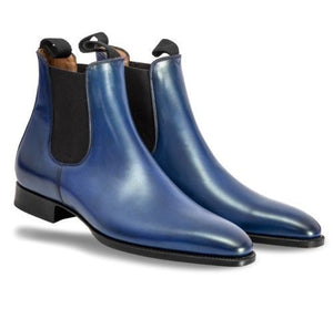 Stylish Men's Handmade blue color Chelsea Leather Boots ,Men Ankle High Leather boots - theleathersouq