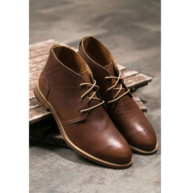 Stylish Men's Hand Stitched Brown Lace Up Chukka Boots, Men Ankle High Boots - theleathersouq