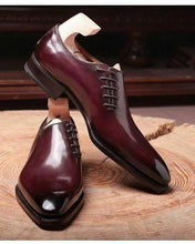 Load image into Gallery viewer, Elegant Handmade Men's Oxford Maroon Lace Up Shoes, Custom Made Fashion Men Shoes - theleathersouq