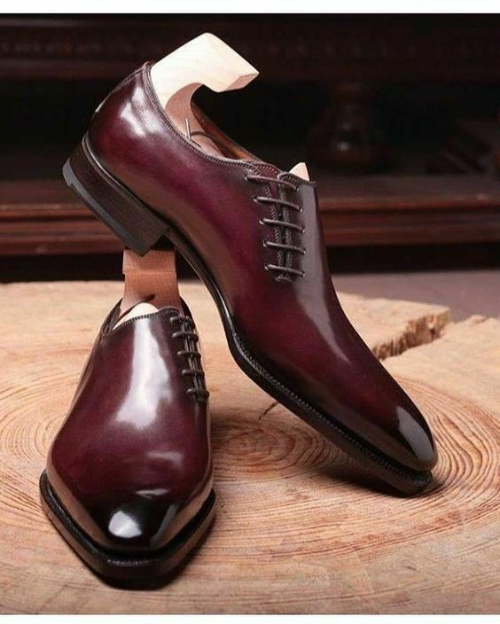 Elegant Handmade Men's Oxford Maroon Lace Up Shoes, Custom Made Fashion Men Shoes - theleathersouq