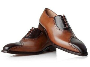 New Men's Handmade Brown & Black Leather Lace up Brogue Shoes, Custom Made men Shoes - theleathersouq