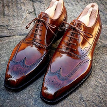 Load image into Gallery viewer, Elegant Men's handmade Wing Tip Brogue Brown Leather Shoes, custom made dress men shoes - theleathersouq