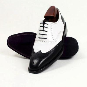 Men's Handmade Spectator Shoes, Men wingtip brogue Black & White formal Leather shoes - theleathersouq